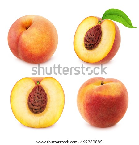 Set of peaches isolated on white. #669280885
