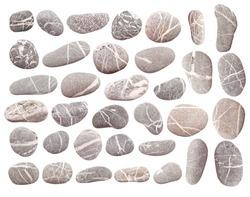 set of pebbles isolated on white background