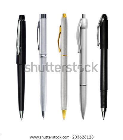Set of pens isolated on white background