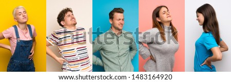 Set of people over colorful backgrounds suffering from backache for having made an effort