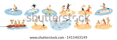 Set of people performing summer sports and leisure outdoor activities at beach, in sea or ocean - playing games, diving, surfing, riding water scooter. Colorful flat cartoon illustration