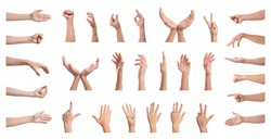Set of people showing different gestures on white background, closeup view of hands