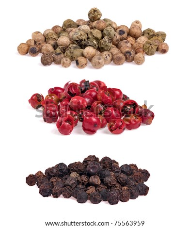 set of pepper heaps isolated on white background