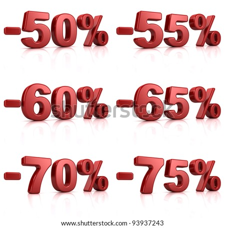 set of percent red text over a white background