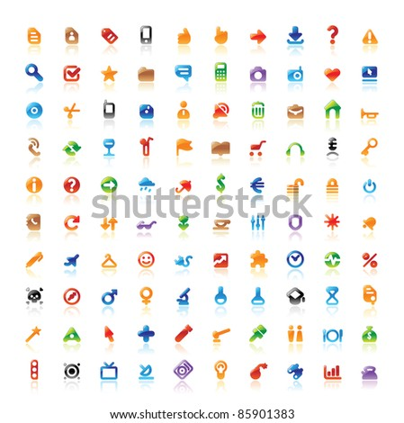 Set of 100 perfect designer icons for web, business, media and leisure. Raster version. Vector version is also available.