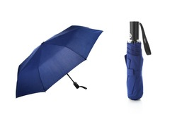 Set of Phantom Blue Foldable Umbrella Isolated on White Background. Design Template for Mock-up, Branding, Advertise etc. Front and Closed View
