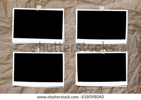 Set of photo frame with tape, on crumpled paper texture background