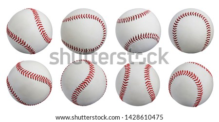 Set of photo isolate Baseball 8 balls standard hard cork inner sewing made from leather isolated with path on white background. Team outdoor sports popular in America USA, Japan, UK, other countries.