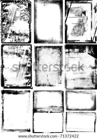 set of 10 photographic borders with detailed texture, grunge swirls and damaged edges.