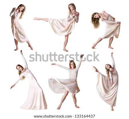 Set of photos modern style dancer isolated over white background
