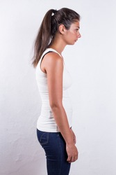 Set of 3 photos showing the result of using back posture corrector. Before, during use and after.