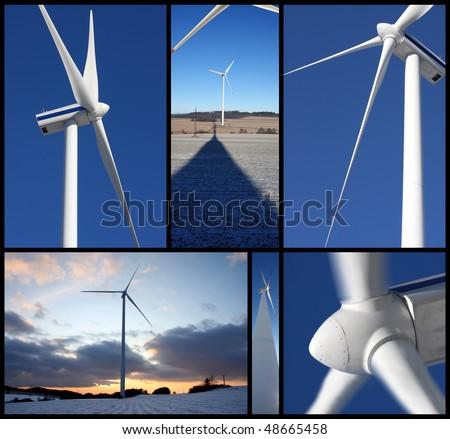 set of photos with wind turbines - stock photo