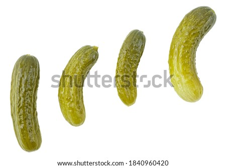 Set of pickled cucumbers of different shapes isolated on a white background, top view. Group of pickles. Cornichons. Photo stock ©