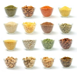 Set of pictures on cereal and nuts in bowls on white background.