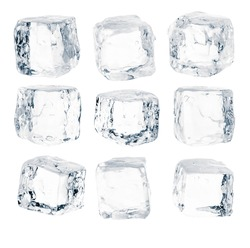 Set of pieces of pure blue natural crushed ice. Ice cubes. Clipping path for each cube included.