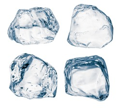 Set of pieces of pure blue natural crushed ice. Ice cubes isolated on white. Clipping path for each cube included.