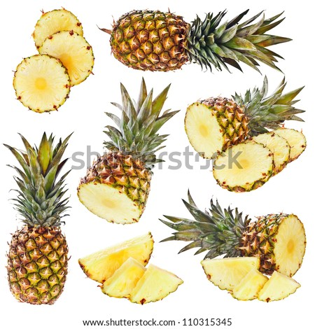 Set of pineapple isolated on white