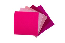 Set of pink and purple color felt samples, multicolor, bright, closeup  on white background