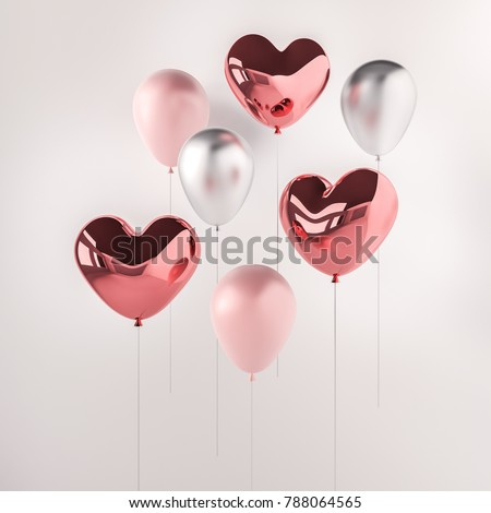 Set of pink and silver glossy 3d realistic balloons in heart shape on white background. Valentine's Day or wedding day romantic themes for party, events, presentation or promotion banner, posters.