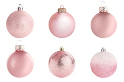 Set of pink Christmas balls on white background