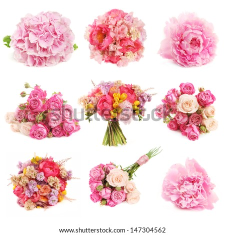 set of pink flowers and bouquets