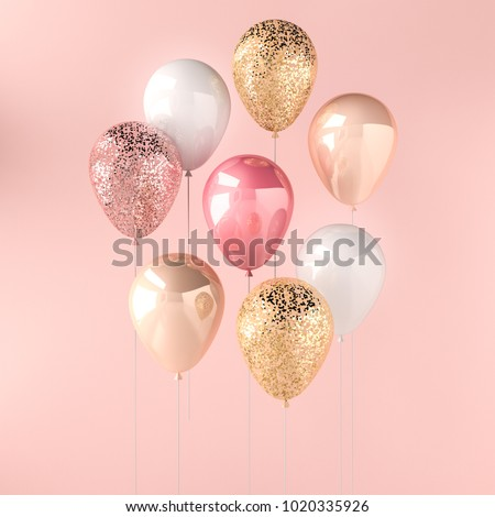 Set of pink, white and golden glossy balloons on the stick with sparkles on pink background. 3D render for birthday, party, wedding or promotion banners or posters. Vivid and realistic illustration.
