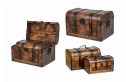 Set of pirate chests treasure isolated on white background - chest box in opened chest box, closed chest box storage