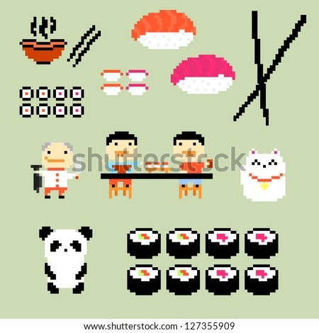 Set of pixel art icons on japanese food style, raster version