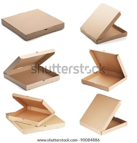 set of pizza boxes - stock photo