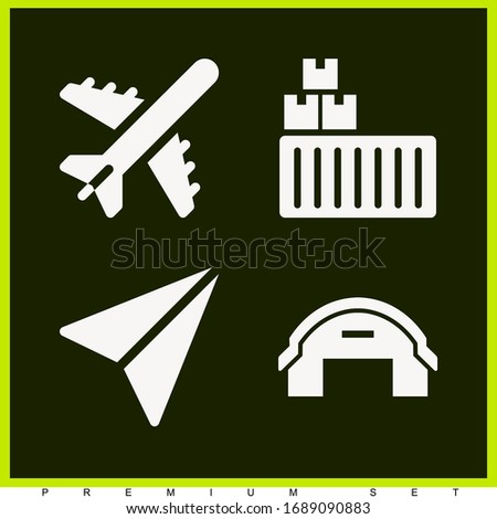 Set of 4 plane filled icons such as send, cargo, hangar