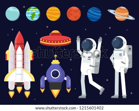 Set of planets, space shuttles and astronauts in flat style. Rocket and astronaut, spaceship and shuttle. illustration