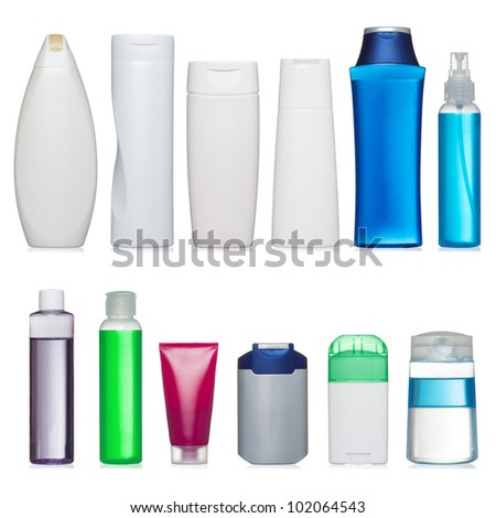 Set of plastic bottles. Scale and and proportion saved. Isolated on white.