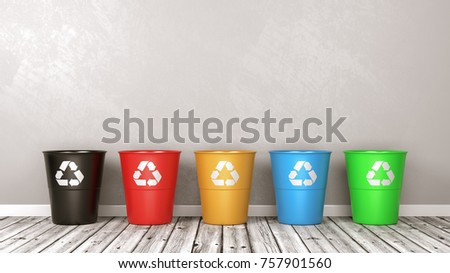 Set of Plastic Colorful Recycle Bin with Recycle Sign on Wooden Floor Against Grey Wall with Copyspace 3D Illustration