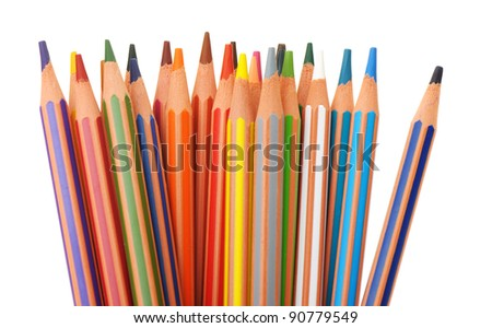 Set of plastic colour pencils. It is isolated on a white background