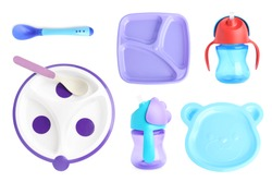 Set of plastic dishware for baby food on white background