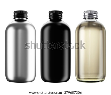 Set of  plastic, glass, ceramic bottles isolated on white background. 3D Mock up for your design. Oil, shampoo, conditioner, shower gel, cosmetics, beverage, perfume, soda.