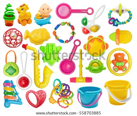 Set of plastic toys:buckets, tooth toys, rattles. Plastic bright toy for the newborn isolated on white
