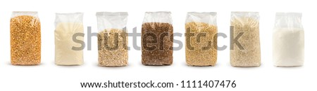 Set of Plastic transparent bags with full of groats isolated on white background. Packages with peas, semolina, rice, seeds, buckwheat grain, oat flakes, sugar. Mockup.