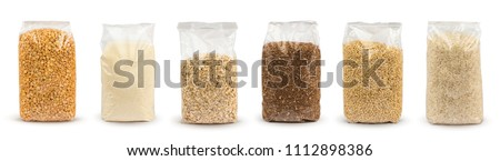 Set of Plastic transparent bags with full of groats isolated on white background. Packages with peas, semolina, rice, seeds, buckwheat grain, oat flakes. Mockup.