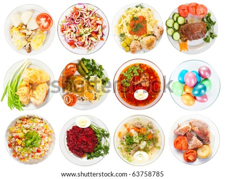 Set of 12 plate with tasty food. Isolated over white background with clipping path