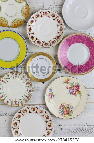 set of plates with antique...