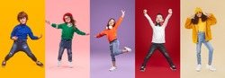Set of playful multiracial preteen children in trendy casual wear having fun while standing against bright background in studio