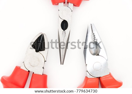 Set of Pliers, Side cutter, Combination pliers, Needle pliers. Basic tool of worker.
