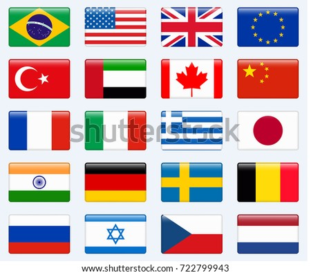Set of popular country flags. Glossy rectangle icon set. #722799943