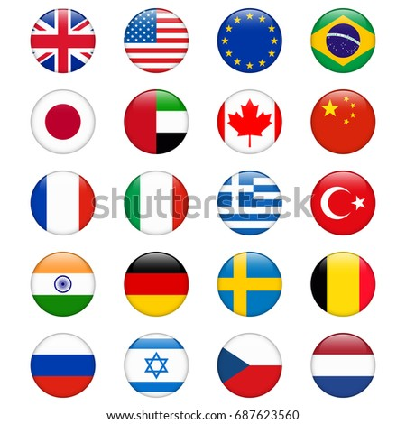Set of popular country flags. Glossy round icon set. #687623560