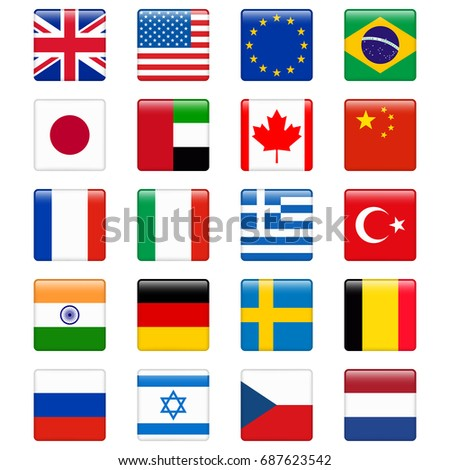 Set of popular country flags. Glossy square icon set.  #687623542