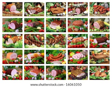 set of 25 pork products