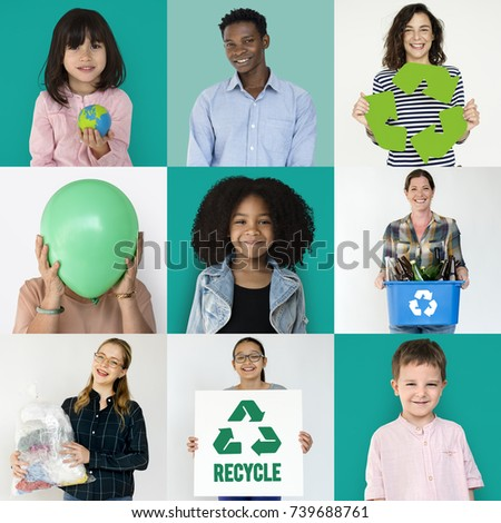 Set of portraits with recycling concepts