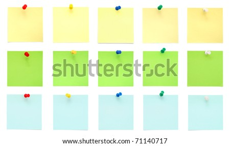 Set of Post-It Notes with Push Pins
