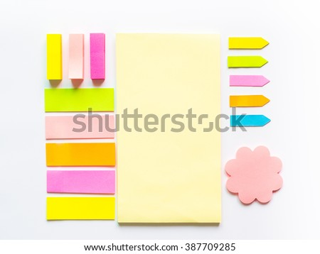 Set of Post-its on white background.